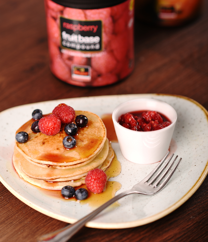 Gluten & Lactose Free Pancakes with a Raspberry Compote using Major Raspberry Fruit Base Compound