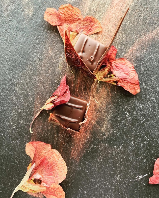 SALTED CARAMEL | KALAMANSI GANACHE | VIETNAMESE ORIGIN DARK CHOCOLATE   Layered caramels as petit fours for a private event.