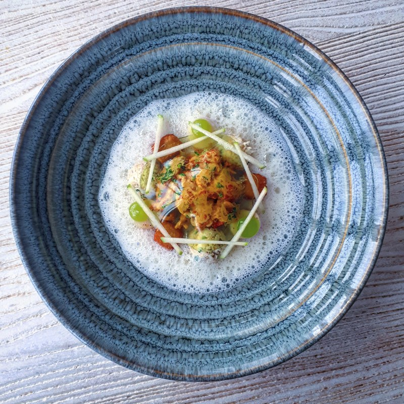Crayfish salad, apple textures, deep fried celeriac, warm celeriac veloute