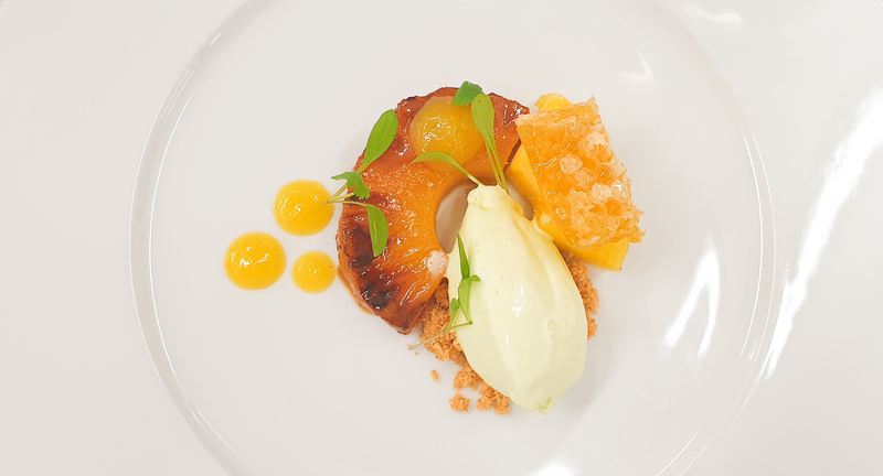 Honey and ginger glazed pineapple, ginger and pineaple gel, cardamon ice cream and honeycomb.