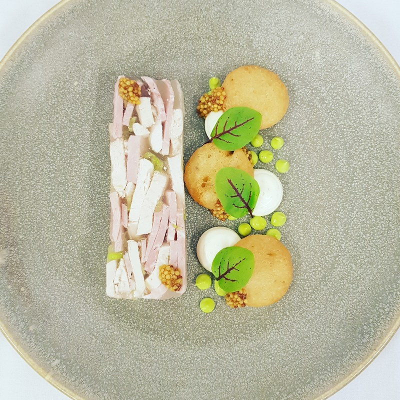 Ham and chicken terrine - white truffle mayonnaise - parsley emulsion - pickled mustard seeds - fried bread