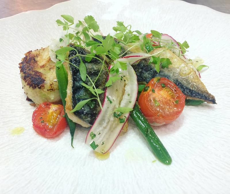Mackerel-Patty-Confit Toms-Radishes-Greens