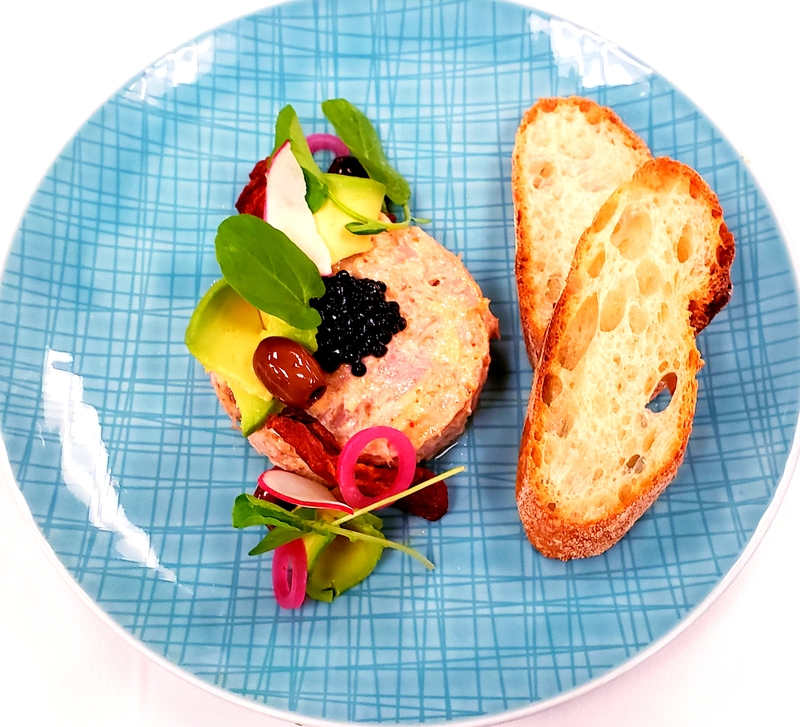 Tuna Rillette...Caviar, Avocado, Oven Dried Tomato, Olive, Pickled Red Onion, Watercress, Baguette
