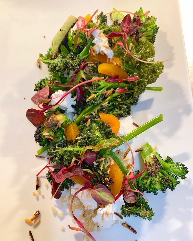 Chard broccoli, purple sprouting, goats curd, quinoa and pickled apricot.
