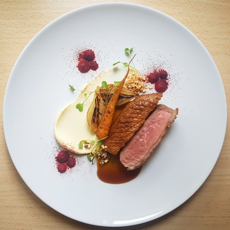 Honey/coriander glazed duck breast•parsnip puree•duck fat seared carrot and onion•sweet n sour beetroot puree•hazelnut•port wine duck jus...