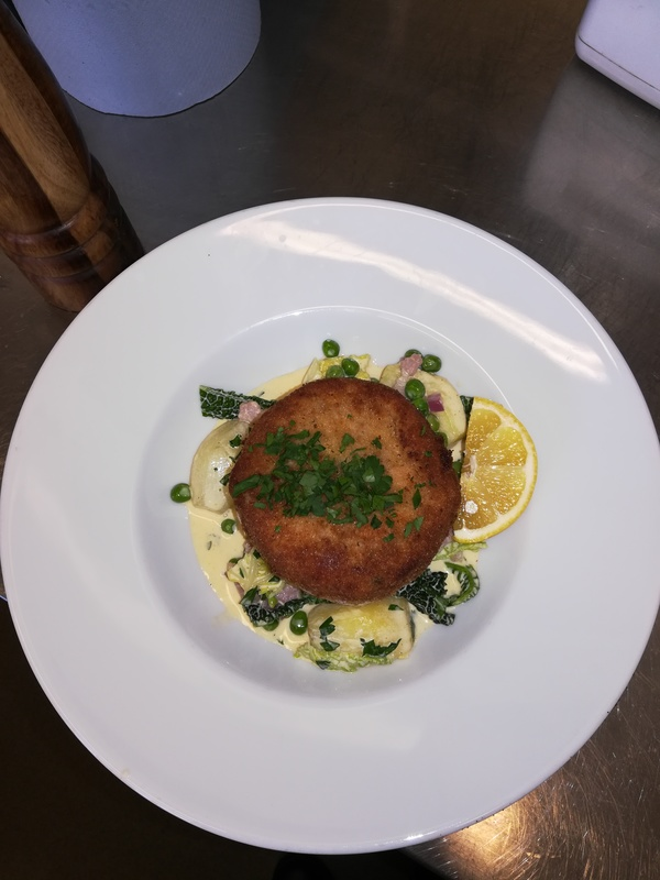 Fish cake with french style peas