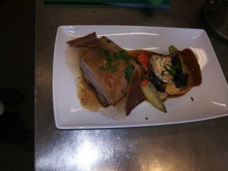 Pork belly with original souce and roast veg