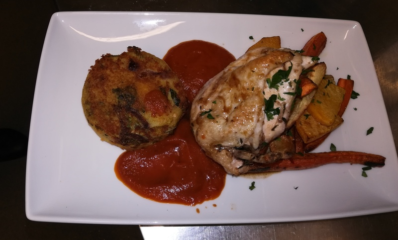 Roast chicken breast with bubble squek, roast veg and tomato sauce