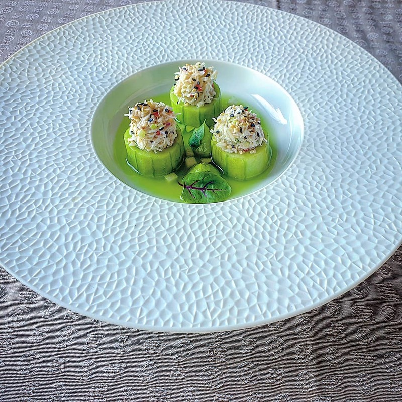 Sesame and ginger crab salad. Marinated cucumber, avocado and wasabi puree, chilled apple, cucumber and ginger broth.