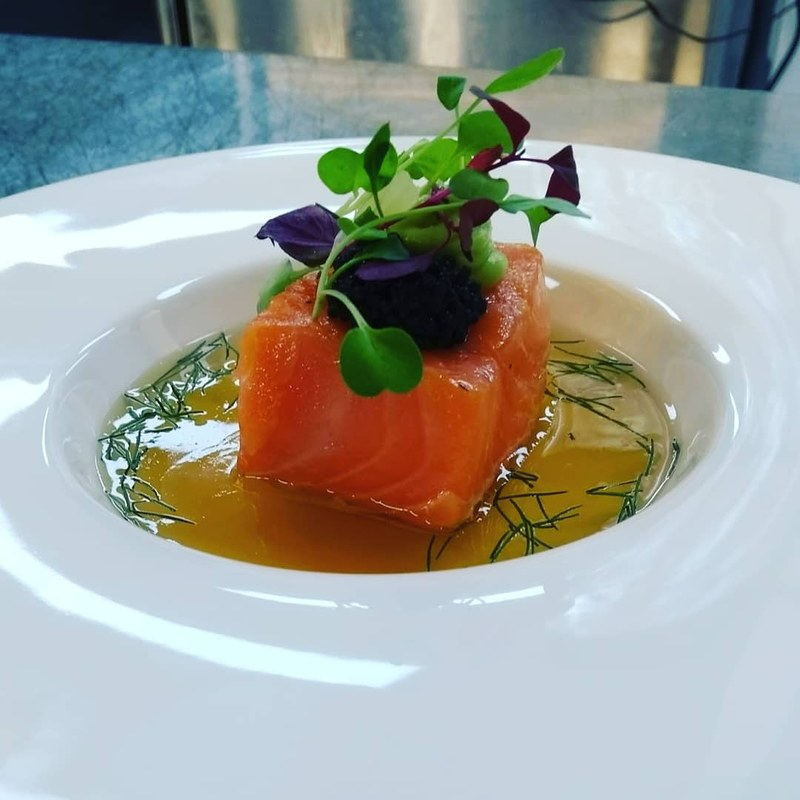 cofit salmon, tomato essence & dill jelly, wasbi mayonnaise, Caviar  and micro herbs