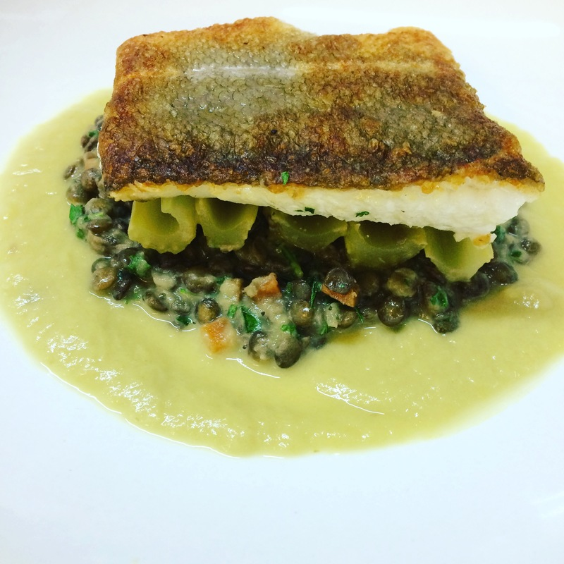Seared cod, chicken jus-braised lentils, butter poached celery