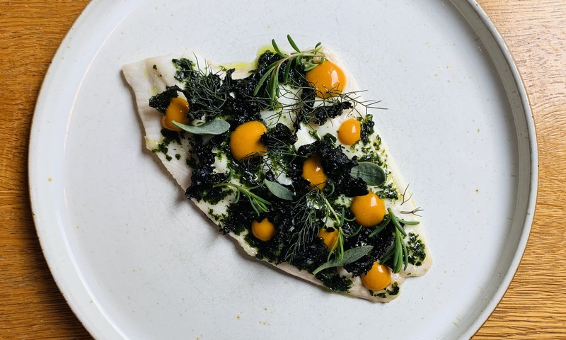 Plaice cooked in seaweed butter, sea buckthorn ketchup