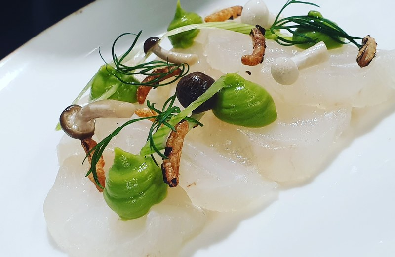 Cured cod, avocado and wasabi puree, pickled mushroom
