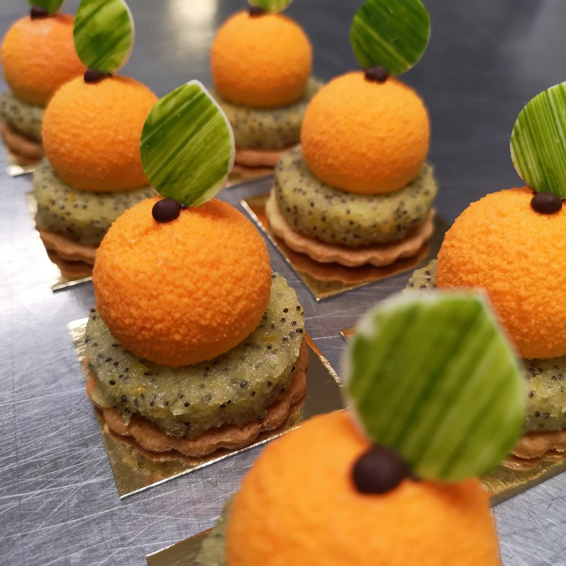 Orange petit gateau - Orange & Cointreau Mousse - Orange and poppy seed cake  - Orange Sablé