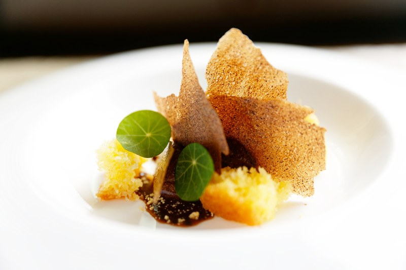 coconut and olive oil cake, salt banana puree, coffee cocoa sea salt sorbet