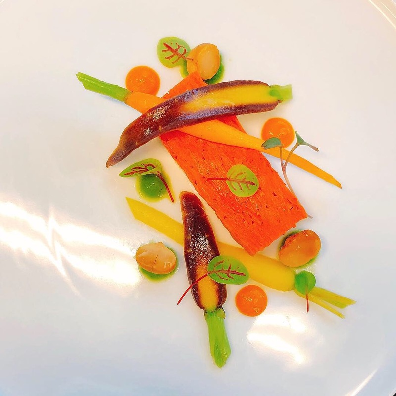 Carrot terrine, baby heirloom carrots, macadamia, herb emulsion (vegan)