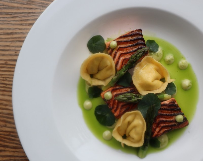 Absolutely stunning @loch_etive trout grilled then charred, smoked salmon, goats cheese and mint tortellini, wild garlic aiolli, new season asparagus, nasturtiums and herb oil.