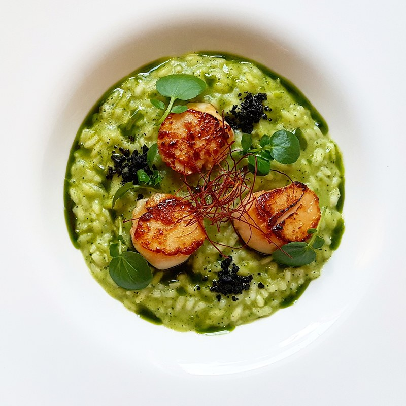 Smoked zuchinni risotto•thyme butter pan seared scallops•black olive crumbs•watercress oil•chilli... Close up!