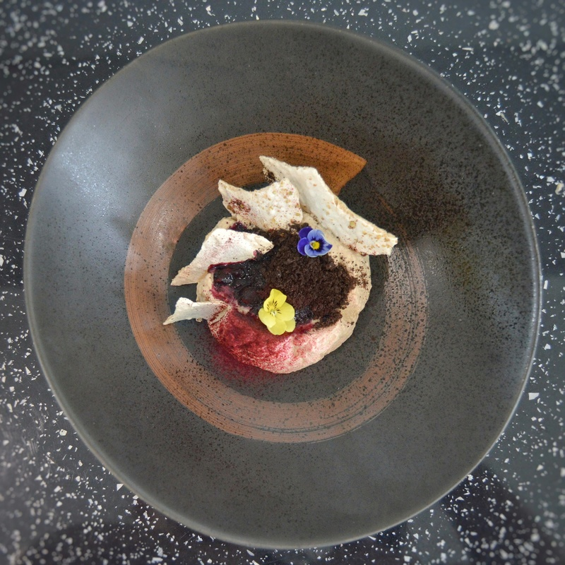 Coffee mouse • hot forest fruits • meringue • chocolate crumble • raspberry powder