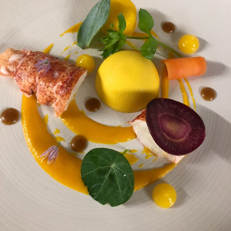 Poached Scottish lobster with carrot and ponzu