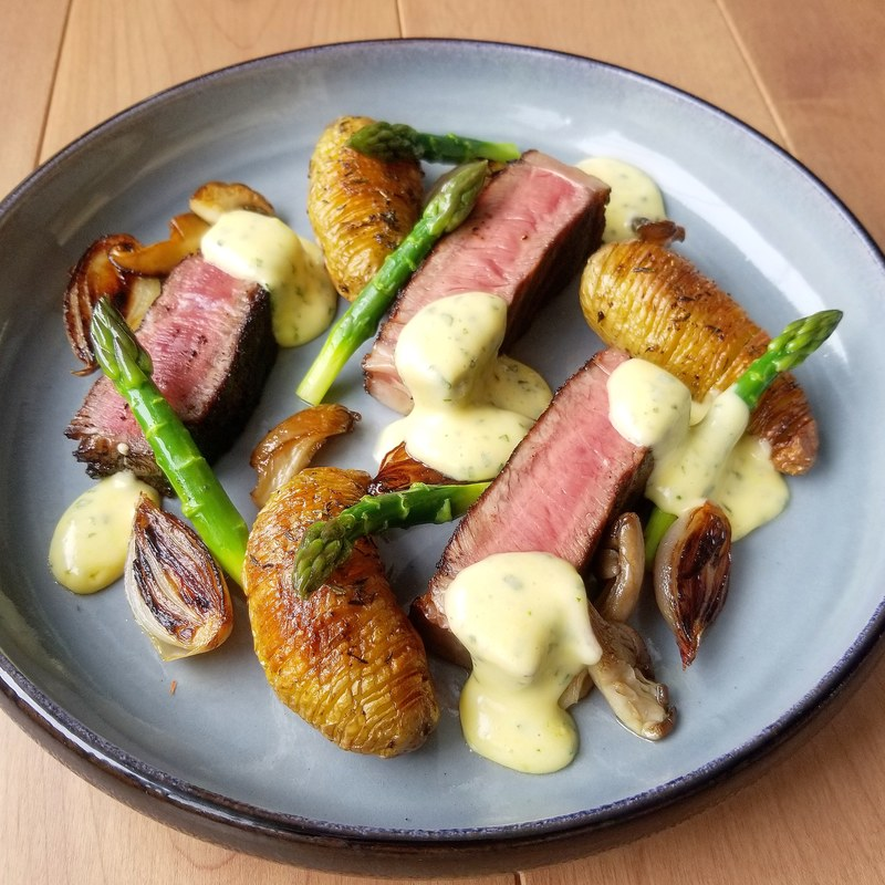 Steak, wild mushrooms, roast shallots, asparagus and bearnaise