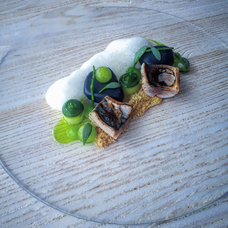 Blow torched local mackerel, smoked mackerel mayonnaise (shaped as rocks),fennel sand, cucumber, dill oil, horseradish foam, sea herbs