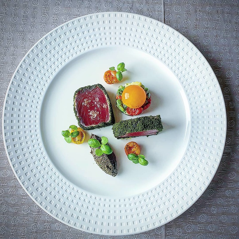Black pepper and herb seared tuna. Flavours of nicoise salad.