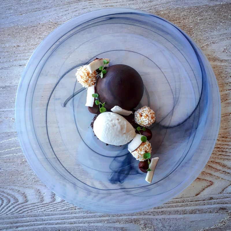 Chocolate and coconut mousse, coconut and white chocolate truffles, coconut sorbet, cocoa soil