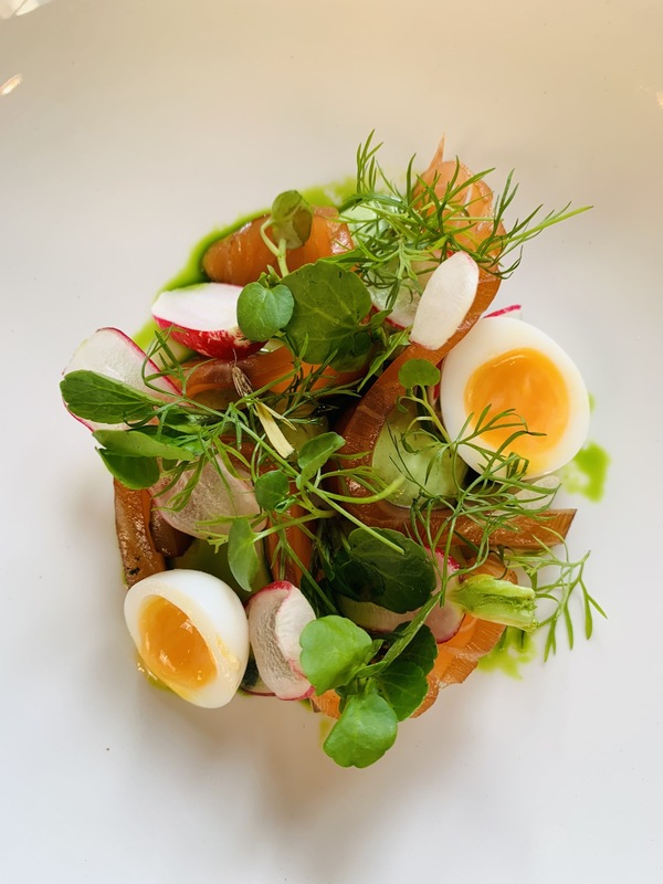 Treacle cured salmon, watercress, quails egg, radish