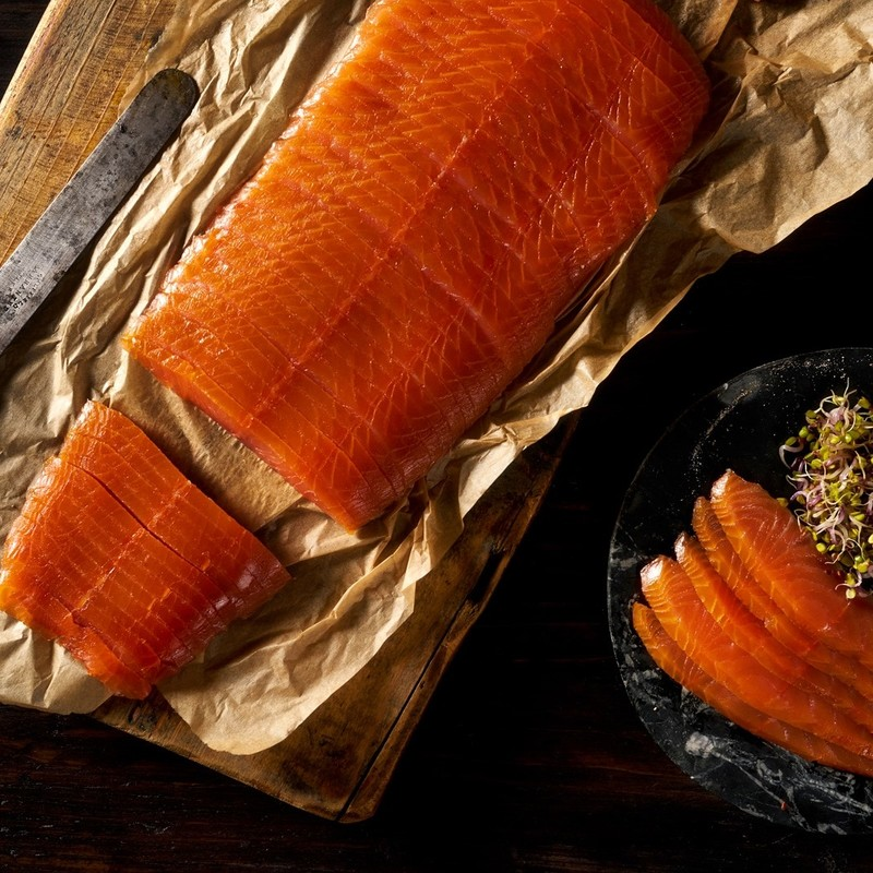 Beautiful Smoked Salmon Vertical Cut