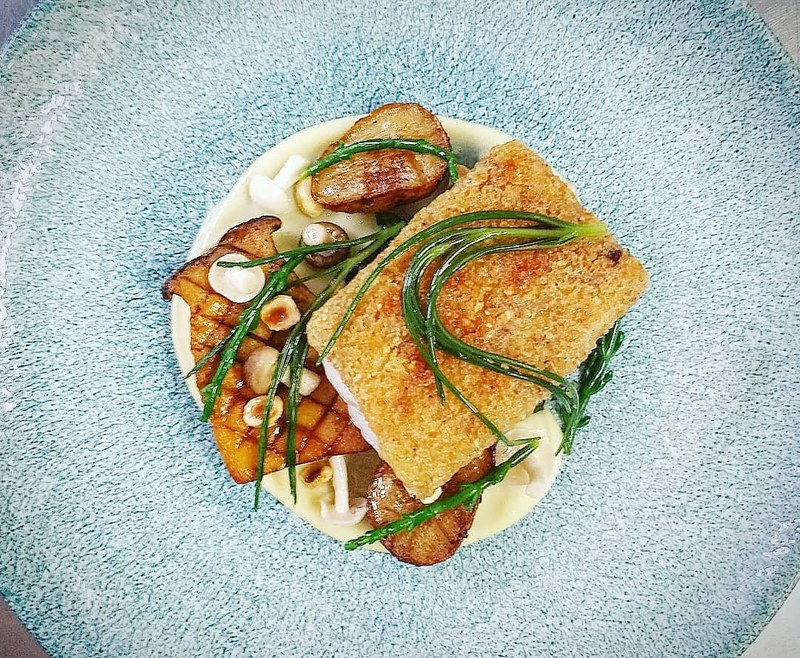 Hake, Hazelnut Crust, Jerusalem Artichoke, King Oyster, Sea Beet, Pickled Shimeji, Samphire and Monk's Beard.