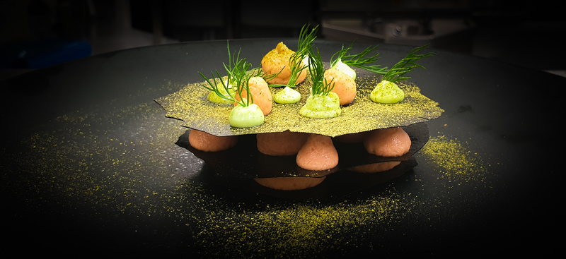 Smoked sea trout brandade mille feuille, dill oyster emulsion, dill powder