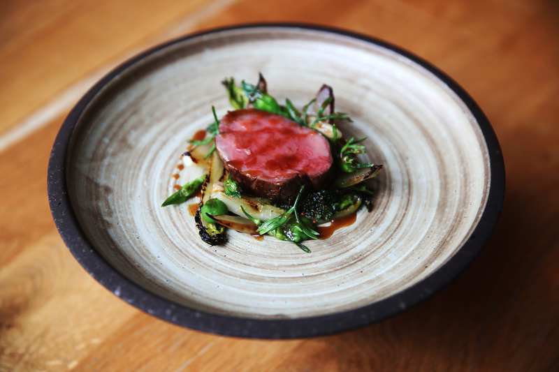 Galloway beef from Taylor's farm heatheryhall, seared lettuce, onion, Ramson buds & purée, vetch, Orkney craft vinegar and aged fat sauce #TheGannet #Glasgow