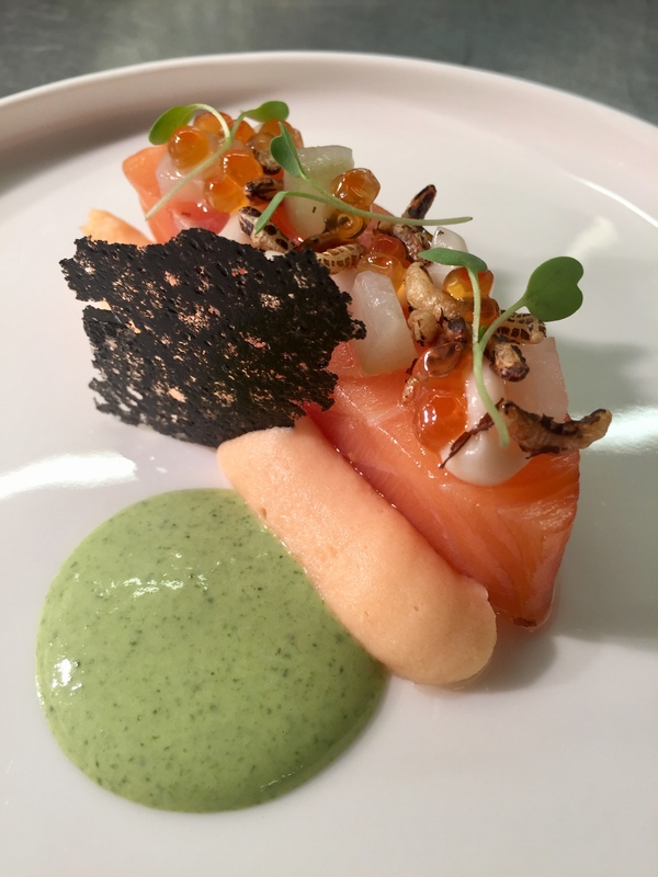 Smoked salmon, oyster, parsley