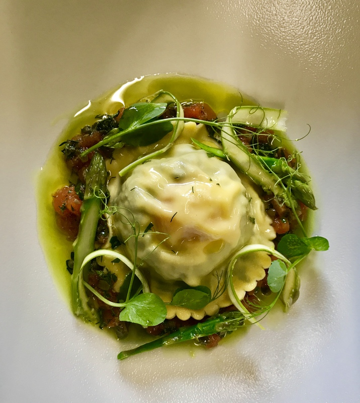 Nettle and egg ravioli with Asparagus and Vegetable Nage