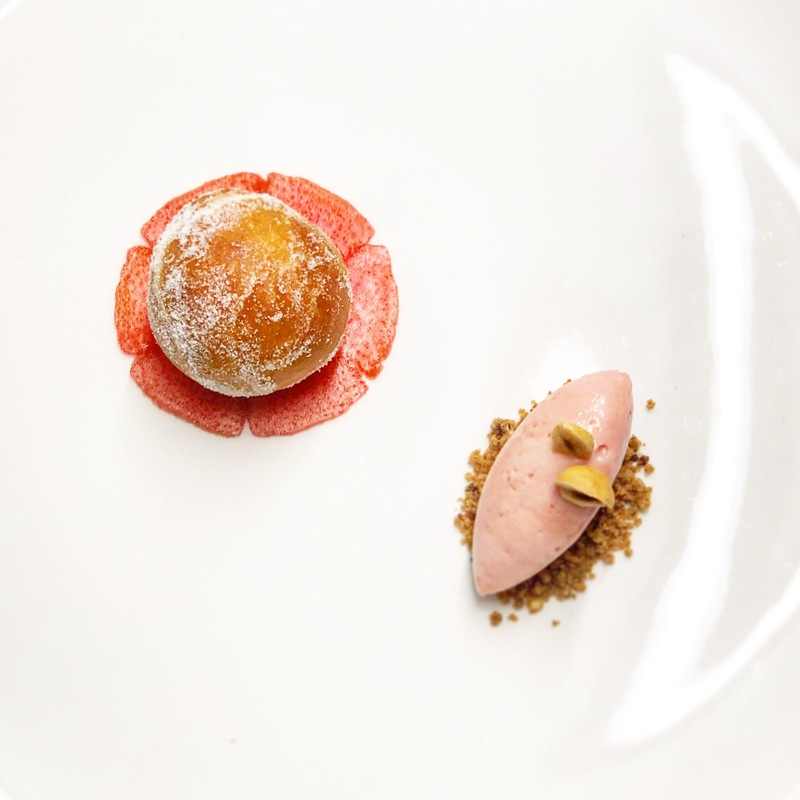 Edinbane Rhubarb and Custard.         Carpaccio and sorbet made with rhubarb grown 200 yards down the road from the Restaurant .         Custard and brioche doughnut made with eggs laid by the hens 50 yards up the road from the Restaurant