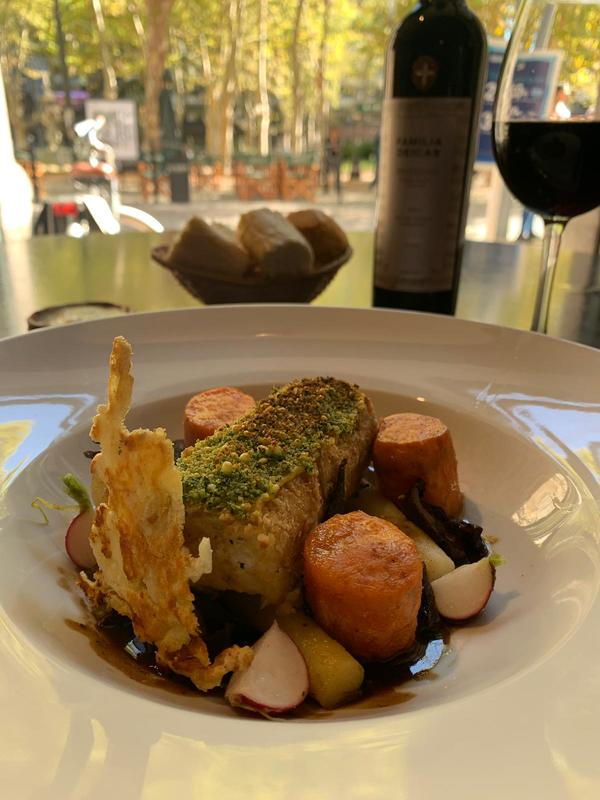 Today's Vegetarian dish.  Chickpea roulade, herb crust, fondant sweet potatoes, confit potatoes, dark mushroom demi glace.