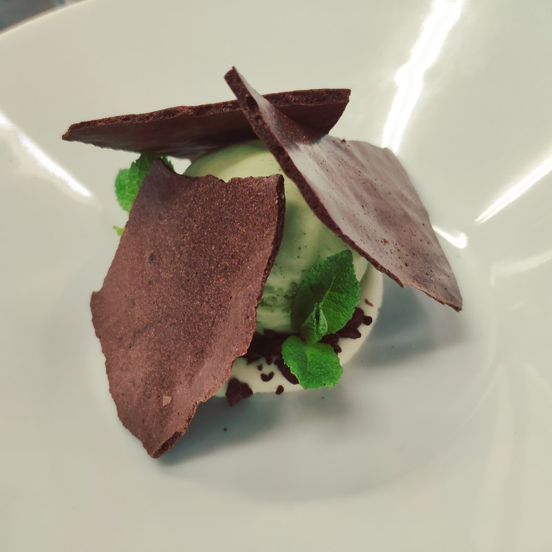 Dehydrated Chocolate Mousse, Mint Ice Cream, Katy Rodgers Creme Fraiche