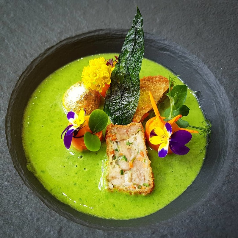 "WILD GARLIC VELOUTÉ :black_small_square:︎ backed sweetbread praline :black_small_square:︎ soft boiled ""golden"" quail egg :black_small_square:︎ carrot :black_small_square:︎ spring flowers"