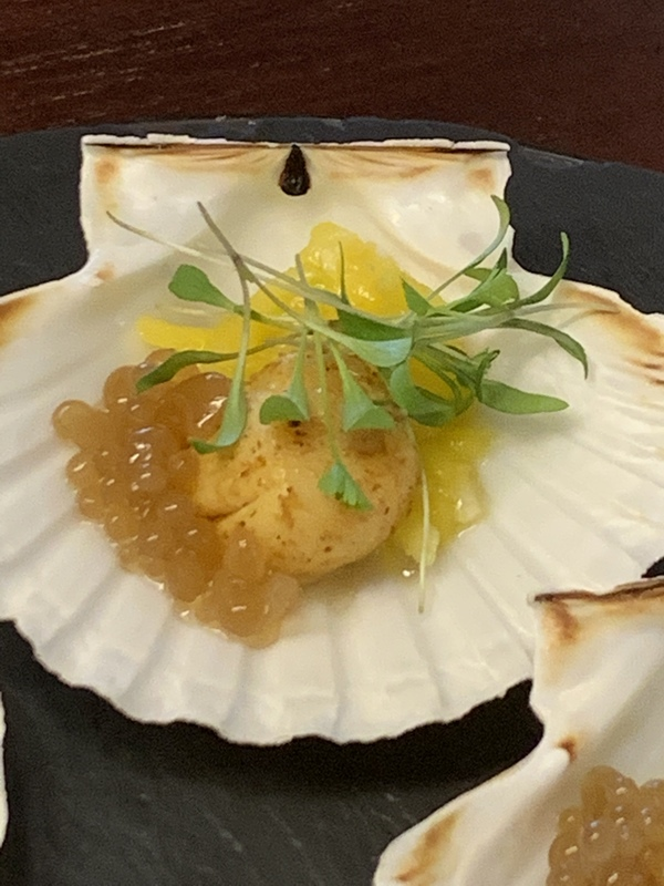 mango and lemon scallops with imli caviar