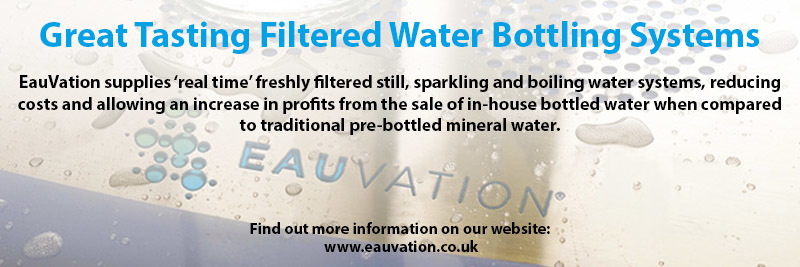 EauVation supplies 'real time' freshly filtered still, sparkling and boiling water systems, reducing costs and allowing an increase in profits from the sale of in-house bottled water when compared to traditional pre-bottled mineral water.