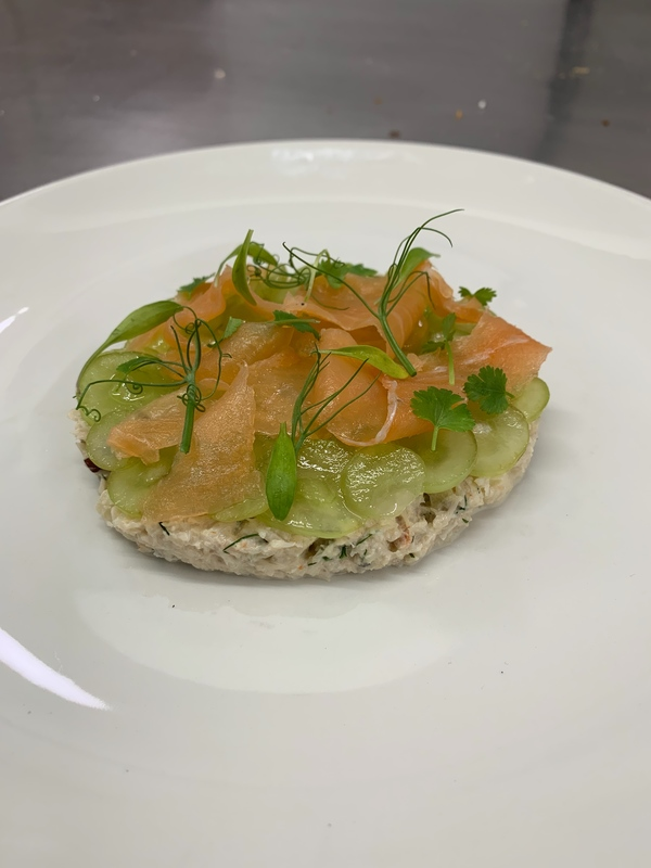 Crab,salmon, grape