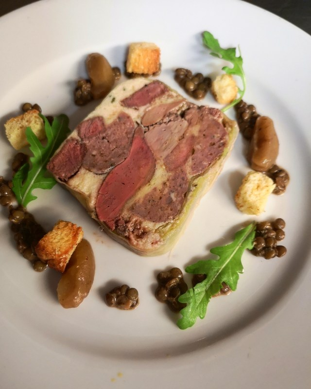 Pressed liver and sausage terrine, burnt apple, lentil dressing