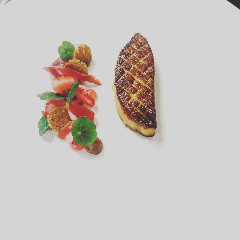 Duck liver with rhubarb, jersey royals with smoked eel