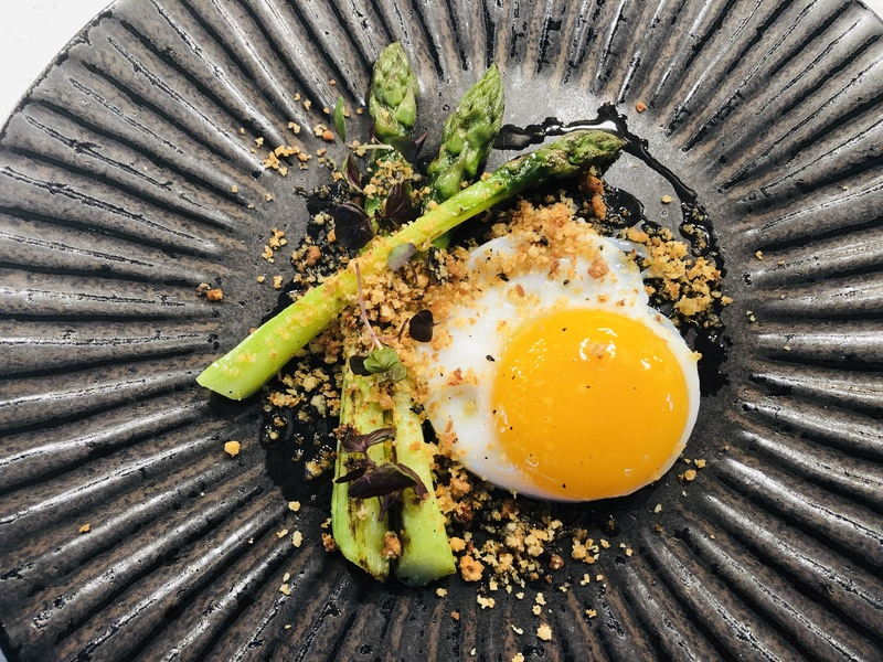 Asparagus , duck egg , truffle and Parmesan crumb