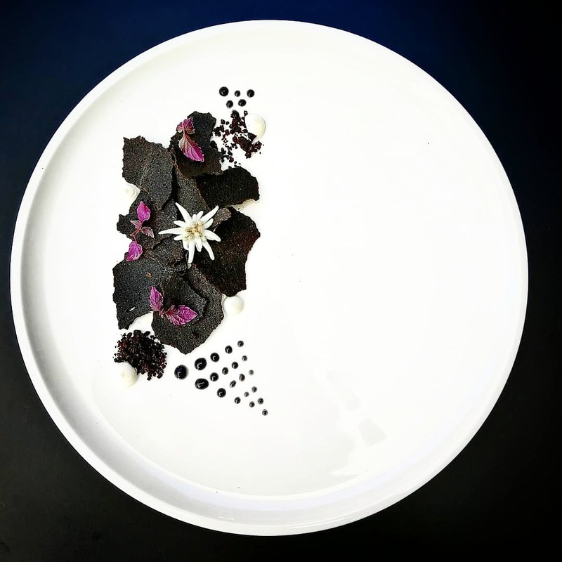 Mousse of Gooseliver, Red Portwine Gelee, Black Sesam Hips and Emulsion, Edelweiss Creme, Sisho cress