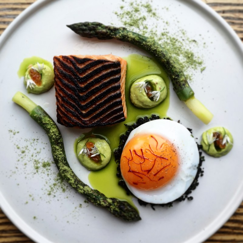 Charred trout, wonky @myresidefarmsproduce Scottish asparagus :heart:️, slow cooked duck egg with saffron, black pudding crumb, aiolli, keta and asparagus powder.