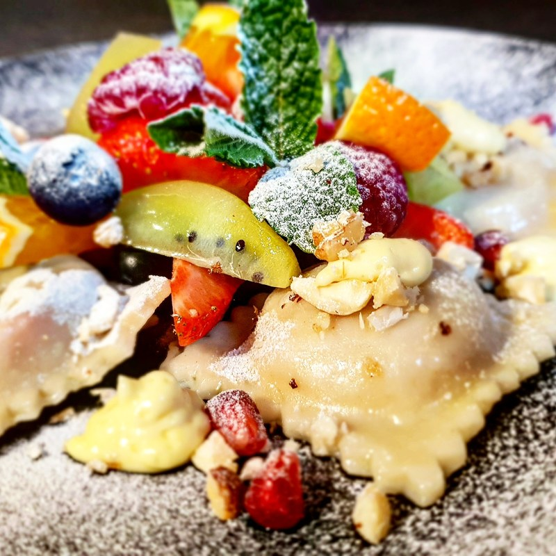 Summer berries ravioli, fruit salad , vanilla mousse  #pasta # ravioli #strawberries #raspberries #blueberries #privatechef #privatedining #fruitsalad #vanilla #mousse #sweets #tastytreat #desserts #summer