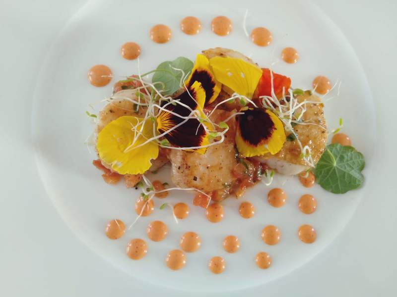 Pan seard scallops with siracha cauliflower puree