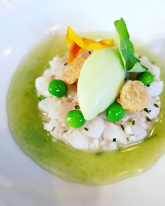 Cured brill, Slight Hill peas, mint, lime, wasabi sorbet www.theshorerestaurant.uk
